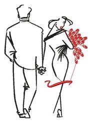 Вышитая картина  Влюбленная пара